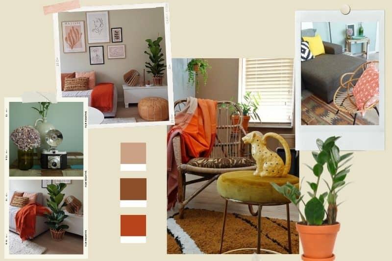 vintage inrichting met oranje accenten, rotan en planten