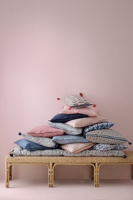kussens linnen roze blauw