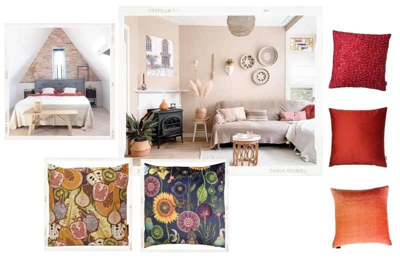 Beige met felle kleuren in het interieur
