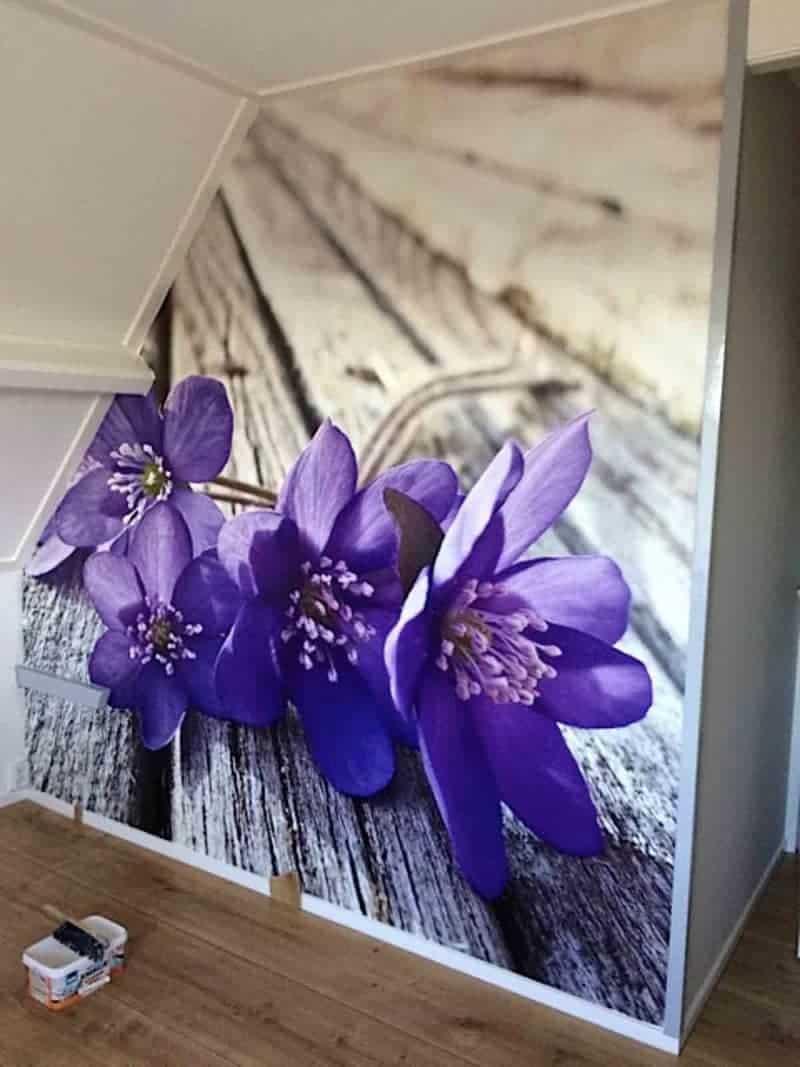behang paarse slaapkamer
