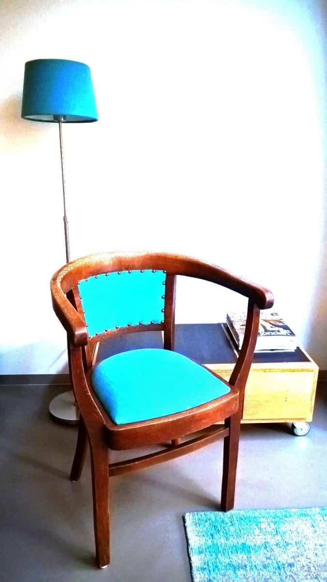 beklede stoel turquoise