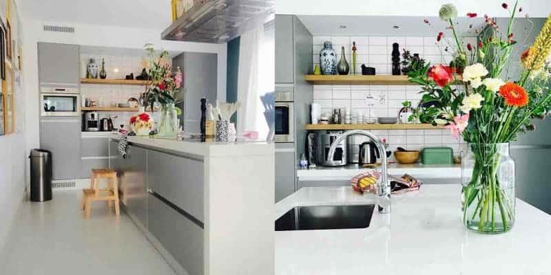 binnenkijken keuken bloemen