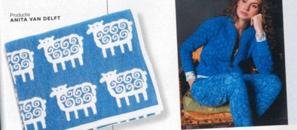 blauwe ledikantdeken schapen