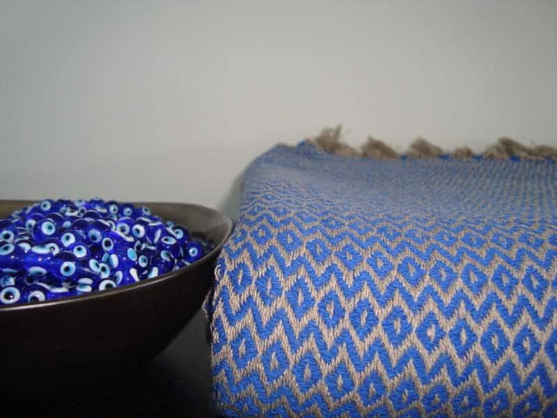 blauwe sprei katoen