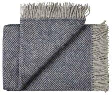 Deken wol: blauw visgraat 1 persoonsbed
