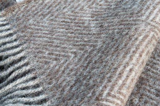 bruine plaid visgraat wol