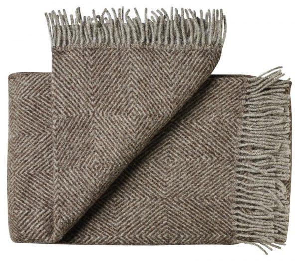 Deken wol: bruin visgraat 1 persoonsbed