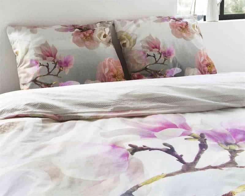 dekbedovertrek bloesem grijs roze