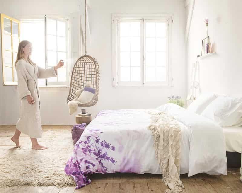 dekbedovertrek paars wit lavendel