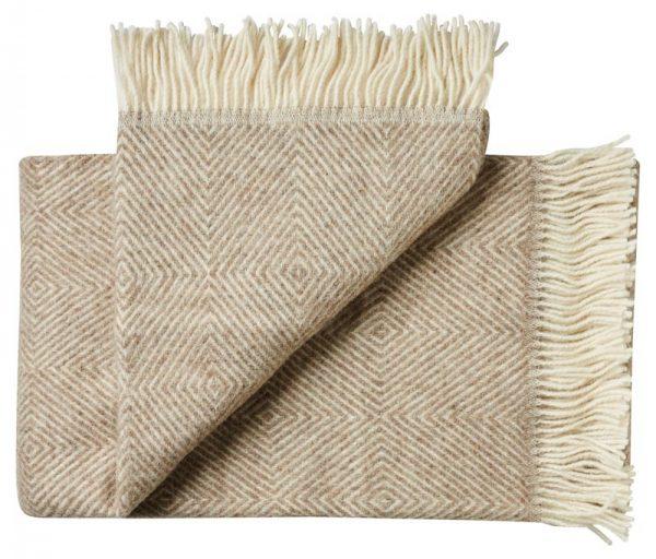 Deken wol: beige visgraat 1 persoonsbed