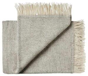 Deken wol: grijs visgraat