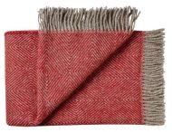 Deken wol: rood visgraat 1 persoonsbed