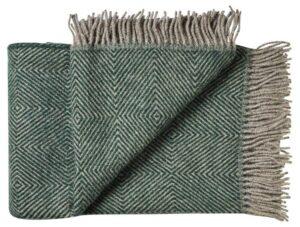 Deken wol: groen visgraat 1 persoonsbed