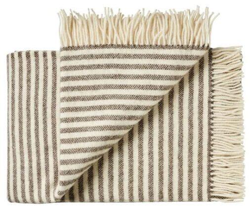 Deken wol: bruin streepjes 2 persoonsbed