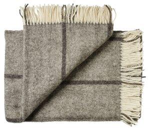 Deken wol: bruin-grijs gestreept visgraat