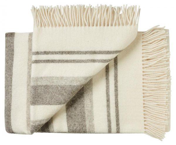 Deken wol: wit streepjes 2 persoonsbed