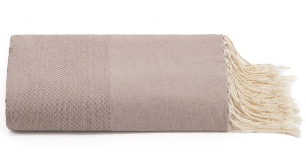 Plaid of grand foulard greige katoen
