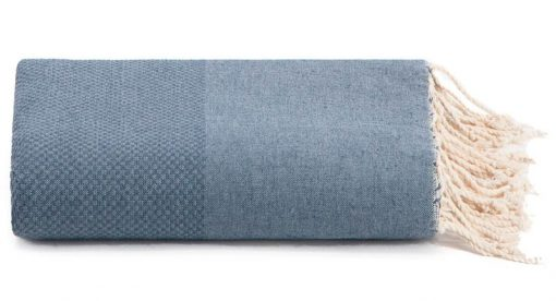 Plaid of grand foulard denimblauw katoen