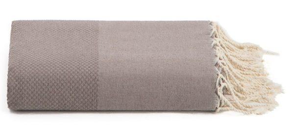 Plaid of grand foulard taupe katoen