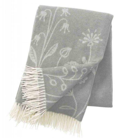 Plaid lamswol merinowol - Flower Meadow grijs