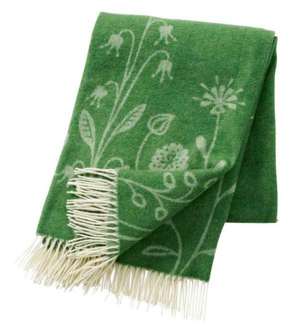 Plaid lamswol merinowol - Flower Meadow groen