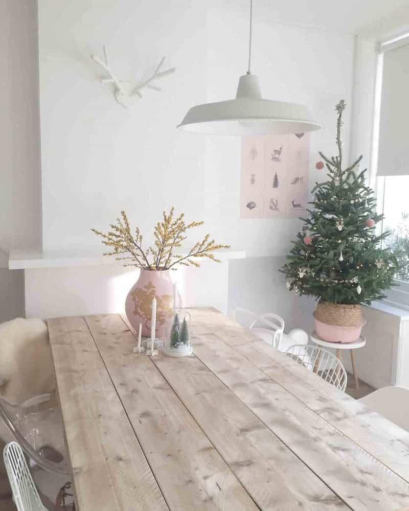 kerst roze interieur