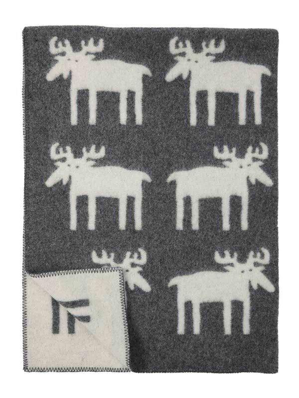 Ledikantdeken wol eland grijs