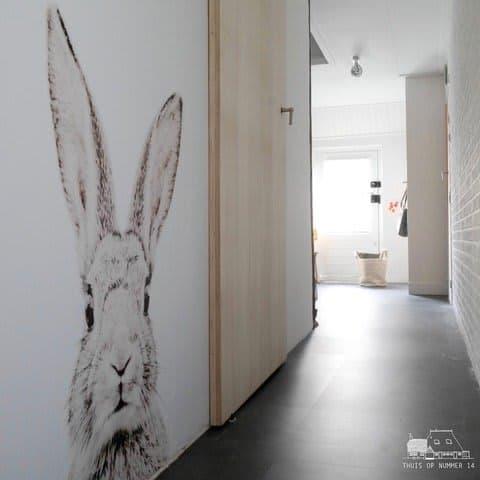 konijn aan de muur