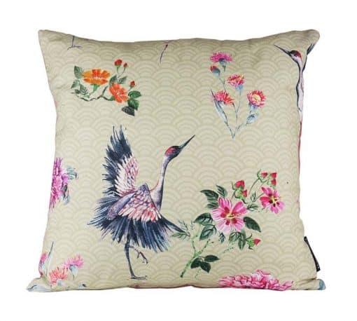 Kussen beige roze kraanvogels