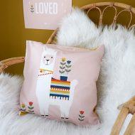 Kussen kinderkamer Lama roze