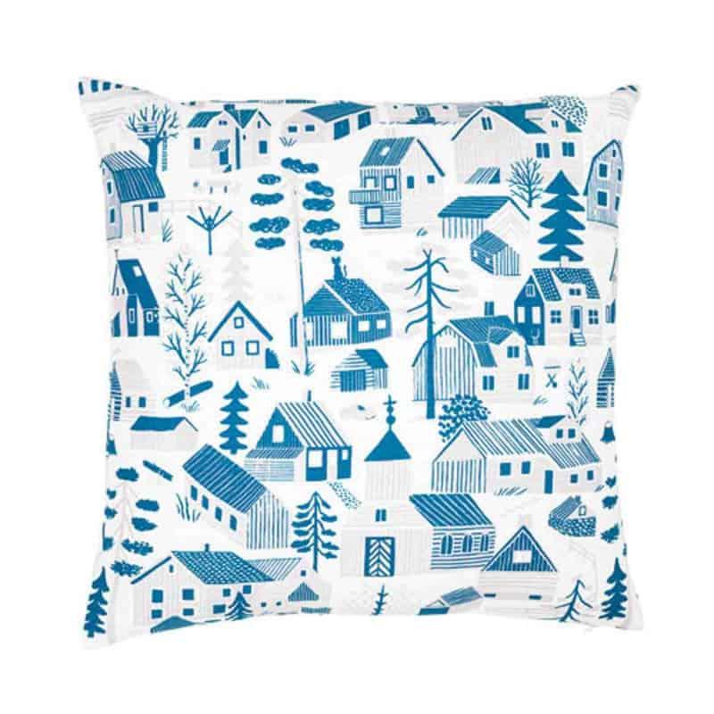 Kussen Blauw Wit.Kussenhoes Blauw Huisjes Linnen Katoen