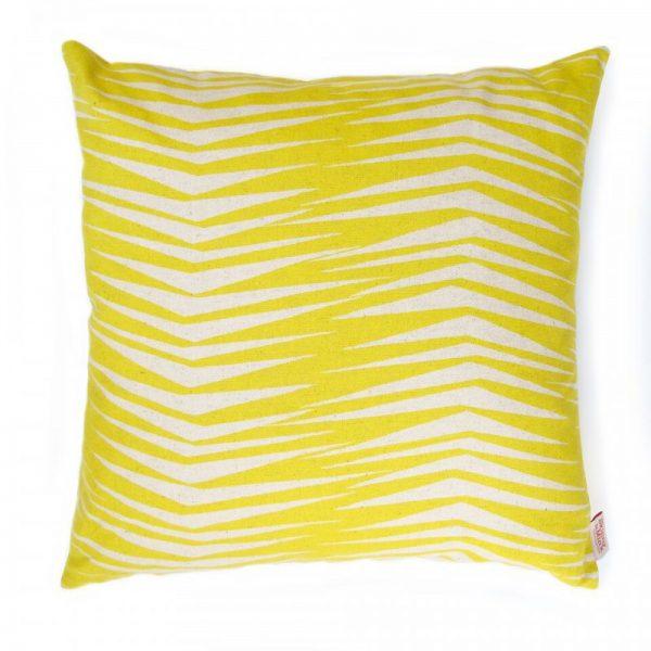 Kussen geel streepjes Fronds