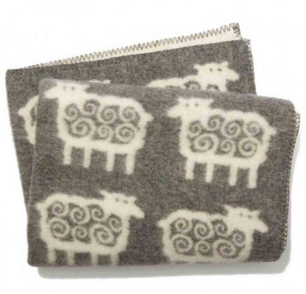 Ledikantdeken wol schapen grijs