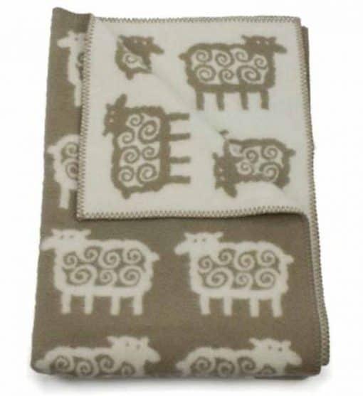 Ledikantdeken wol schapen beige