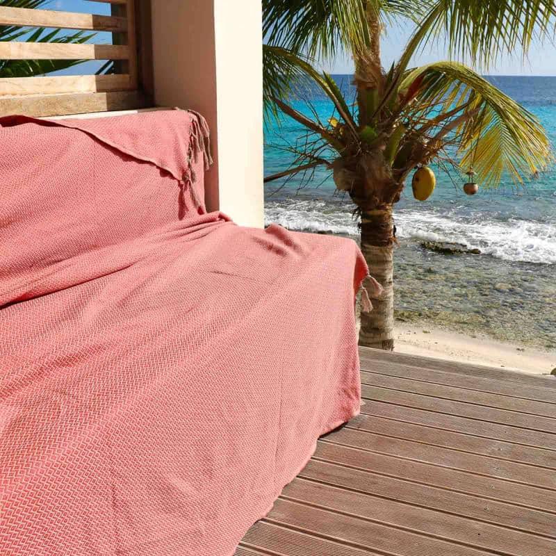 oranje koraalrode plaid grand foulard