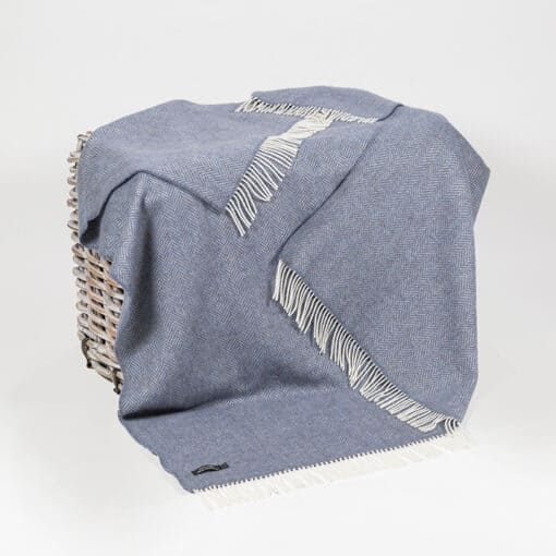 plaid blauw cashmere wol john hanly