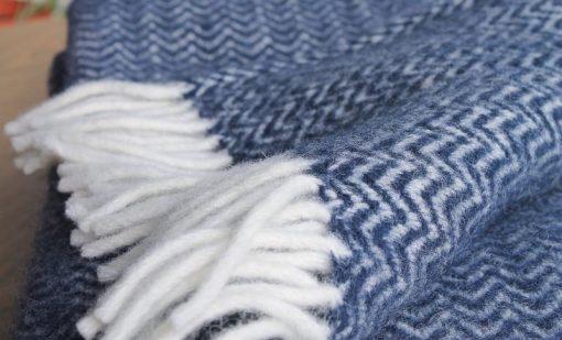 plaid blauw donkerblauw lamswol klippan