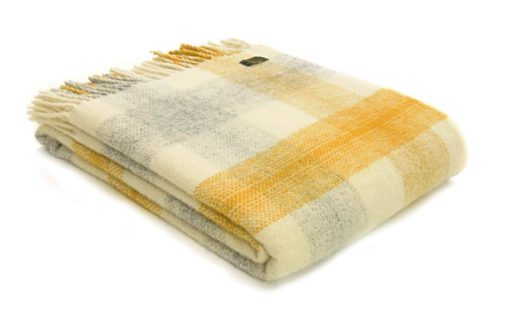 plaid geel grijs wit ruiten wol