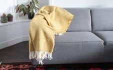 plaid geel okergeel wol klippan