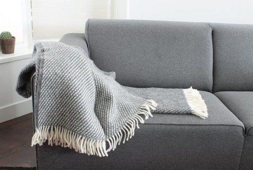plaid grijs lamswol