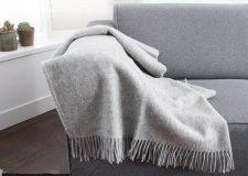 plaid lichtgrijs grijs wol effen silkeborg
