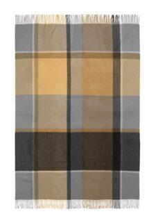 plaid okergeel grijs ruiten alpacawol