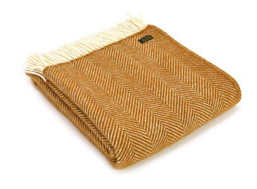 Plaid wol: okergeel visgraat