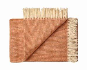 Deken wol: oranje visgraat 1 persoonsbed