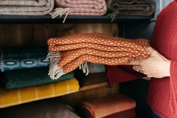 plaid oranje klippan knut lamswol wol