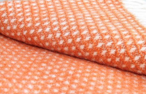 plaid oranje wol wit klippan