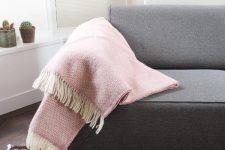 plaid roze tweedmill wol