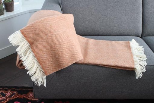 plaid oranje wol visgraat