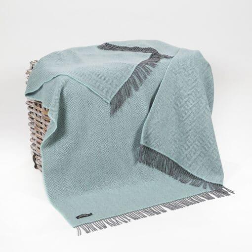plaid zeeblauw cashmere wol hanly