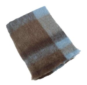 Plaid brushed mohair: lichtblauw